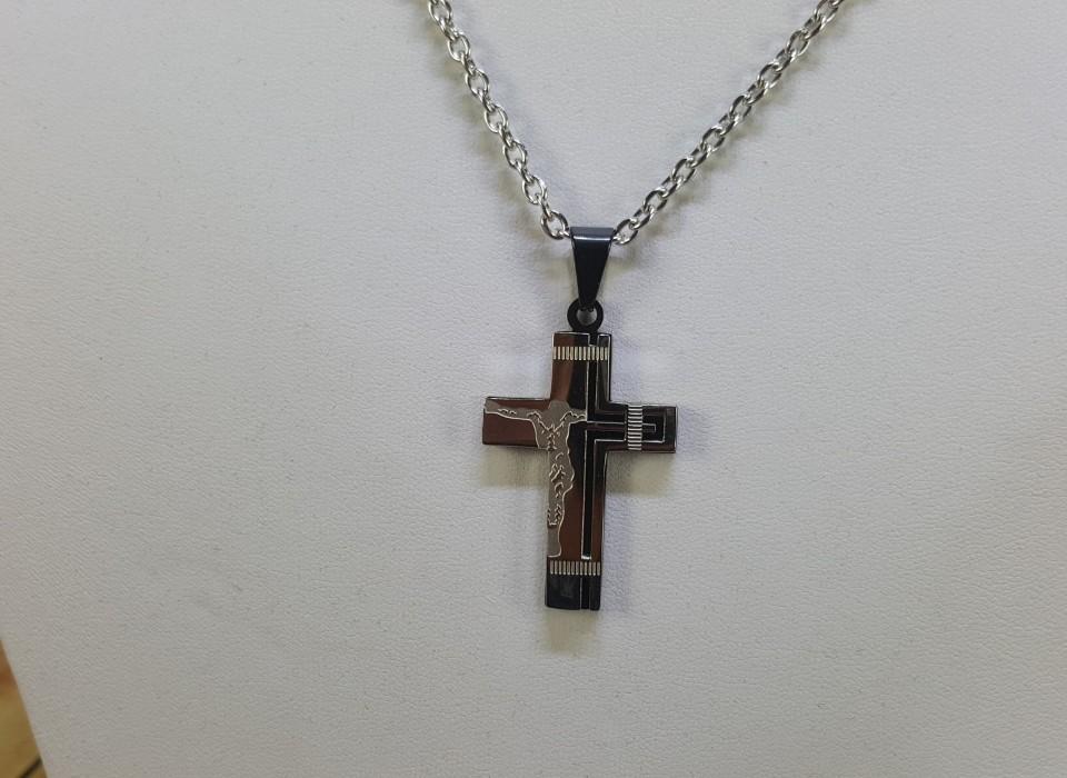 Ketting met hanger kruis edelstaal zwart zilver for Auto interieur reinigen zelf