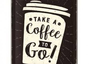 Take a coffee to Go! Metalen Wandbord 20 x 15 cm