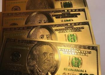 5x Amerikaanse 100 Dollar biljet verguld
