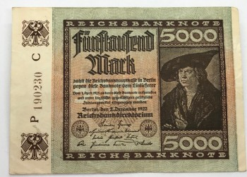 5000 Mark Reichsbanknote 1922 Duits briefgeld