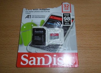 SanDisk Ultra MicroSDHC UHS 1 Card With Adapter.