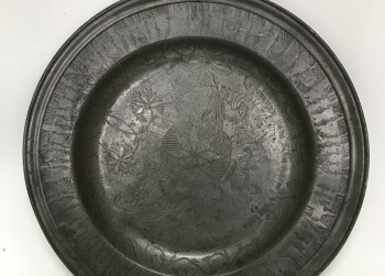 Tinnen bord, Ø 31cm., 20e eeuw