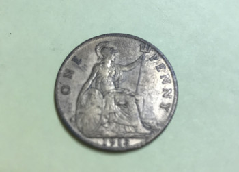 Munt: One penny, 1913