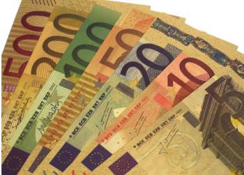 Set Euro Bankbiljetten Herdenkingsmunt verguld