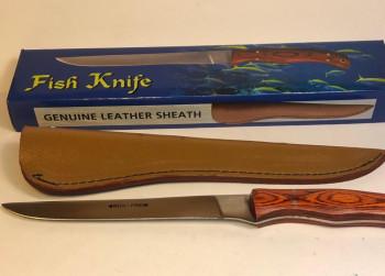 Groot vis mes + leren hoes nieuw OP=OP