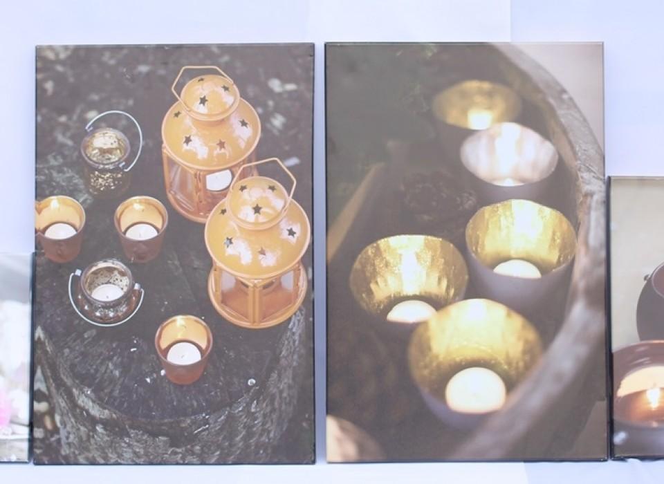 4x canvas schilderijen met led verlichting