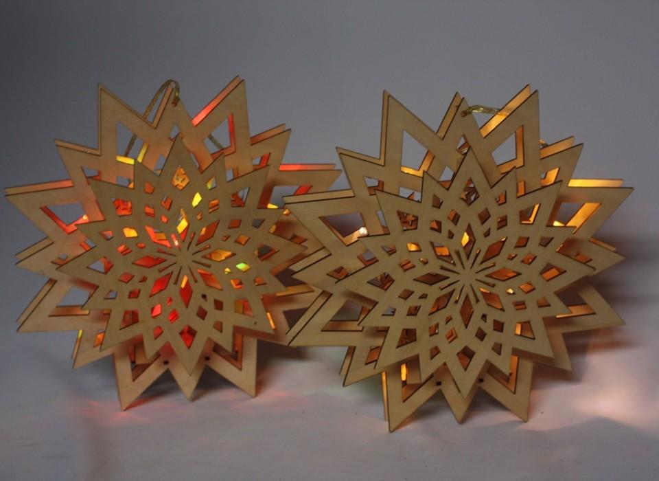 2x kerst raam decoratie met led verlichting
